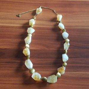 Gold toned stone necklace